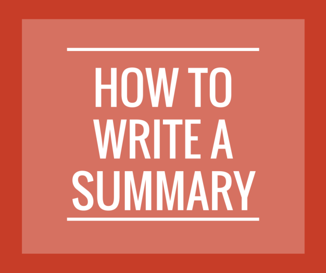enotes how to write a summary
